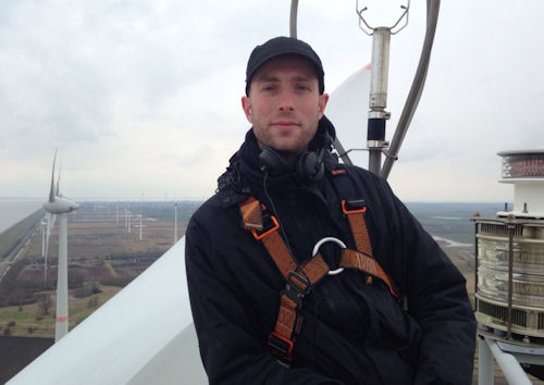 "On top of a wind turbine in Emden, Germany for ""Change-The Energy Revolution continues"" in March 2015, Picture by Katja Bald"